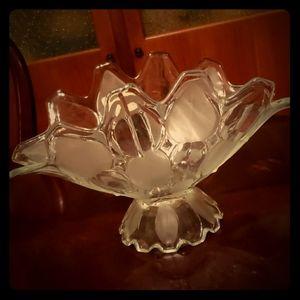 Other - Vintage Folded Glass Centerpiece Bowl Geometric